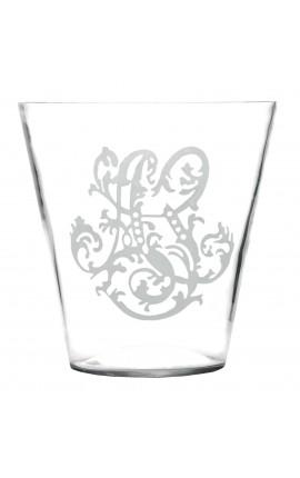 Vase engraved decoration blown glass