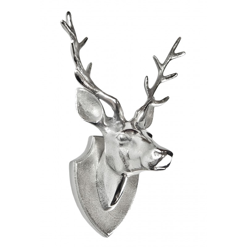 Aluminum wall decoration trophy head deer with antlers - Applique murale tete de cerf ...