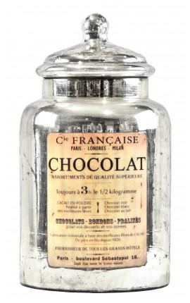"""Pot en verre soufflé et mercurisé avec étiquette émaillée """"Chocolat"""""""