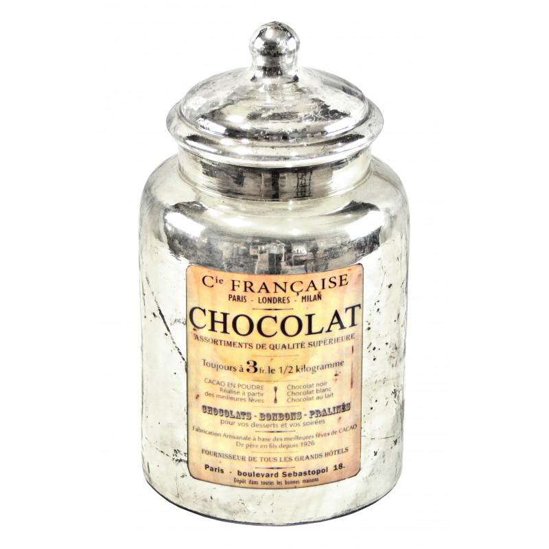 """Fabuleux en verre soufflé et mercurisé avec étiquette émaillée """"Chocolat"""" SV31"""