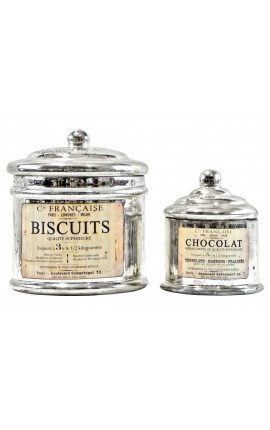 "Set of 2 pot silver leaf glass with label ""Chocolat"" and ""Biscuit"""