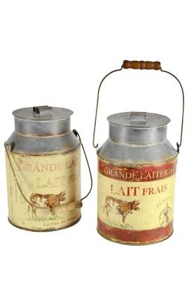Set of 2 jars for milk old style metal