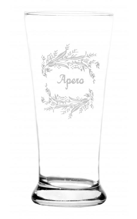 "Clear glass floral designs screenprinted inscription ""apero"""