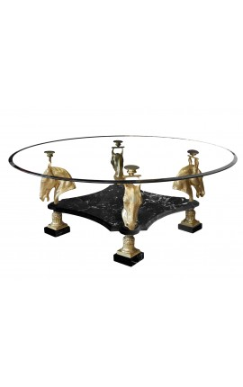 Round dining table with bronze decorations horses and black marble