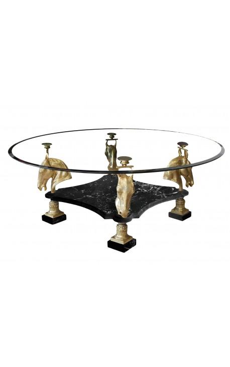Table de repas ronde en bronze et marbre noir au décors de chevaux