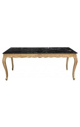 Grande table de repas baroque en bois doré à la feuille et marbre noir