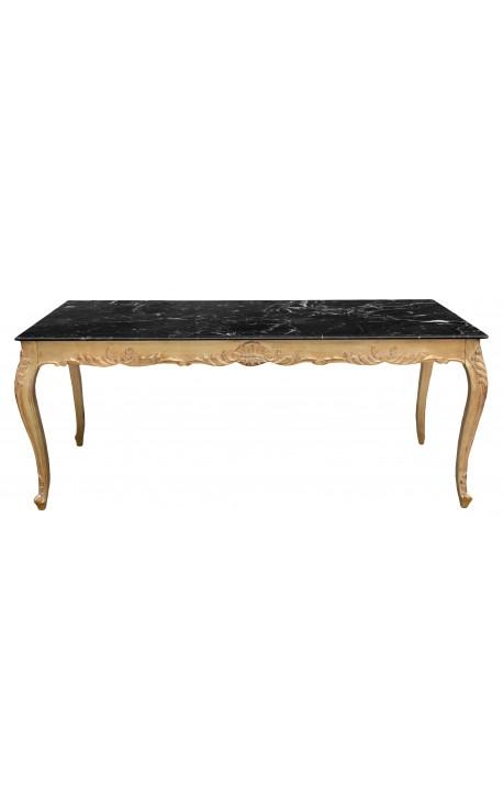 Grande Table De Repas Baroque En Bois Dor La Feuille Et Marbre Noir