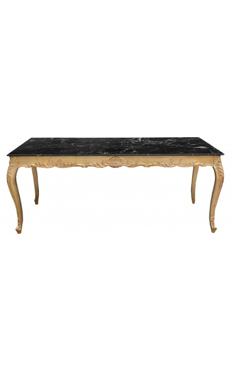 Large dining table baroque wood gold leaf structure and black marble