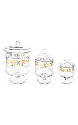 Set of 3 cookie jars glass gilded with fine gold