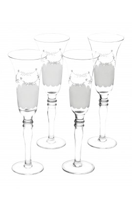 Set of 4 champagne flutes glass with floral motifs