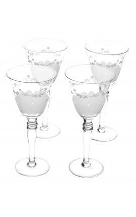 Set of 4 wine glasses glass with floral patterns