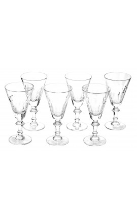 Set of 6 wine glasses transparent crystal