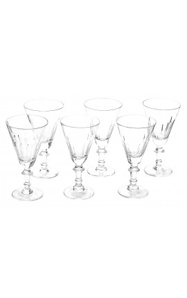 Set of 6 water glasses transparent crystal