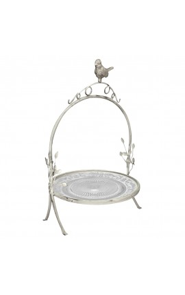 Wrought iron stand with glass plate