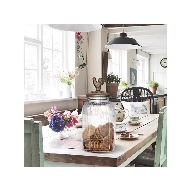 bocal biscuit en verre avec couvercle patin bronze grand mod le. Black Bedroom Furniture Sets. Home Design Ideas