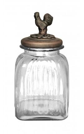 Bocal à biscuit en verre avec couvercle en fer patiné bronze, modèle moyen