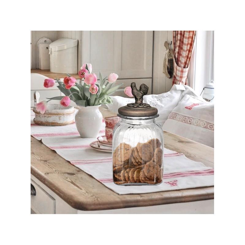 bocal biscuit en verre avec couvercle patin bronze mod le moyen. Black Bedroom Furniture Sets. Home Design Ideas
