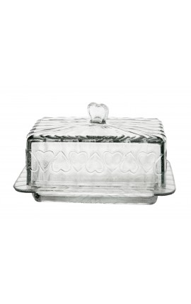 Butter dish with glass decorations hearts