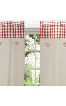 "Eyelet curtain chambrey style Vintage ""Embroidered Matterhorn"" 150 x 260"
