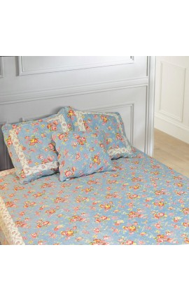 "Bedspread ""Blue and English roses"" King Size"