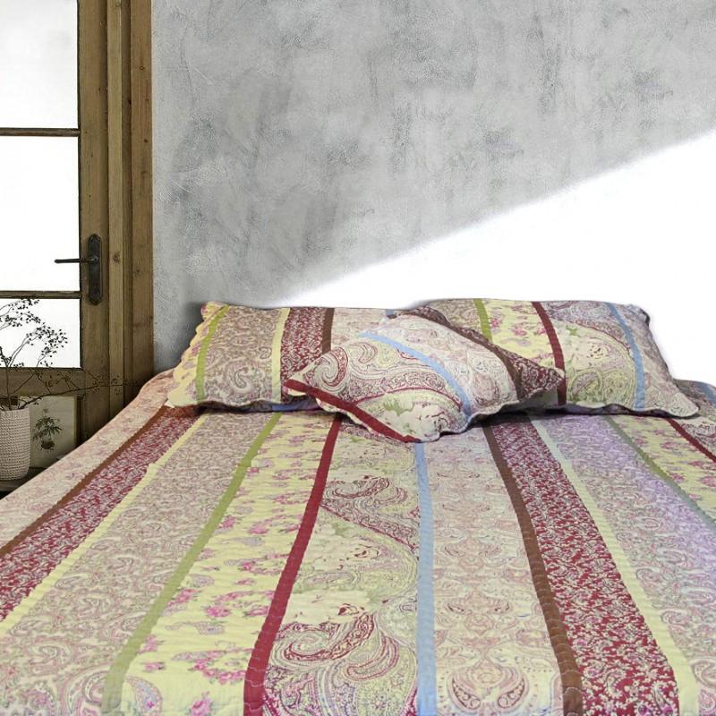 jet de lit en boutis cachemire 240 x 220. Black Bedroom Furniture Sets. Home Design Ideas
