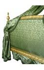 Lit Baroque Royal à baldaquin tissu satiné vert et bois doré