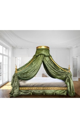 Baroque canopy bed with gold wood and green satine fabric