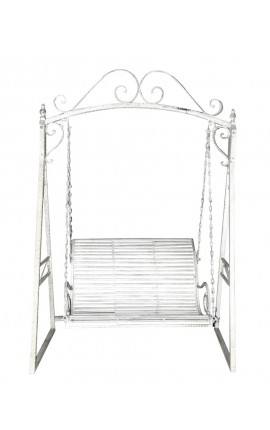 Wrought iron swing-white