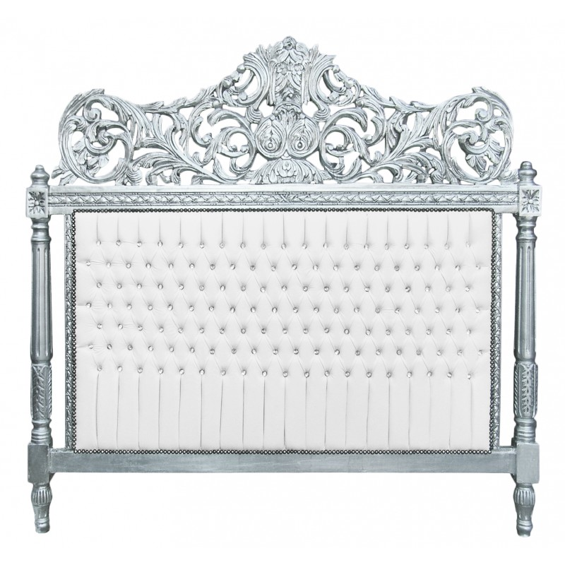 t te de lit baroque simili cuir blanc avec strass et bois argent. Black Bedroom Furniture Sets. Home Design Ideas
