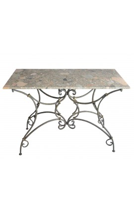 Table console bistrot en fer forgé avec marbre