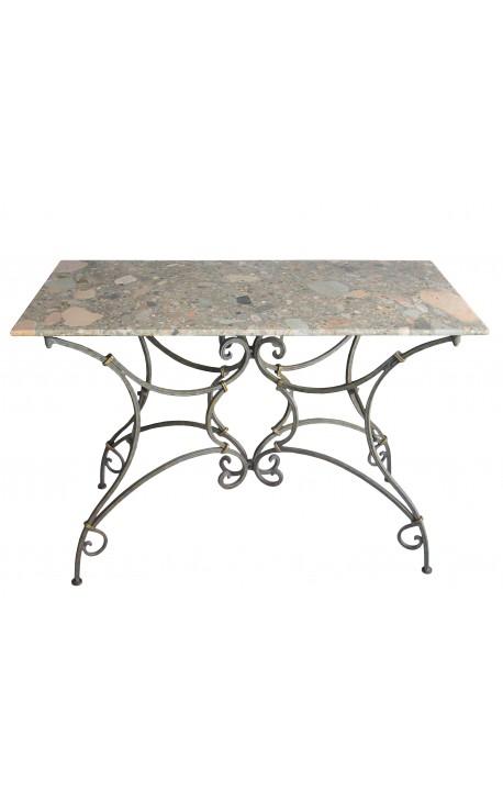 Table console bistrot en fer forg avec marbre - Table de jardin plateau en marbre ...