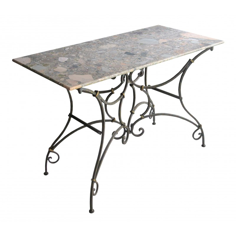 Table console bistrot en fer forg avec marbre for Table en fer exterieur