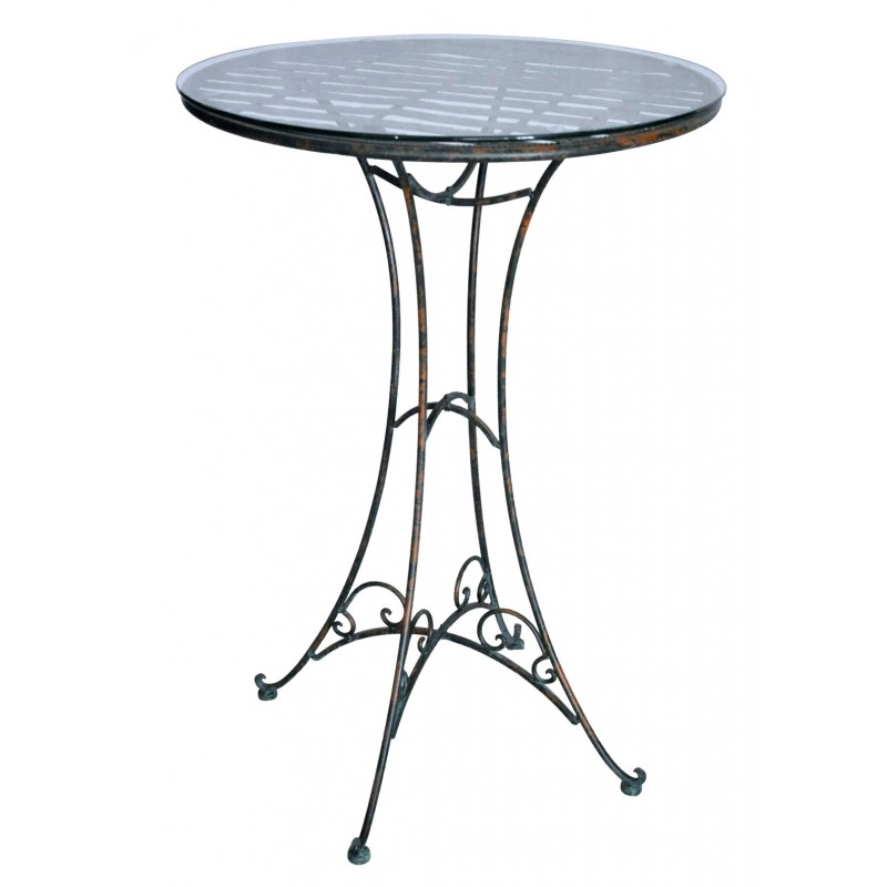 Table de bar en fer forg collection vert de gris for Table bar fer forge