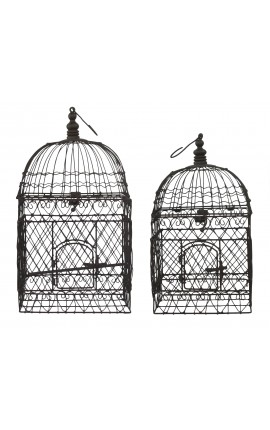 Set of two square wrought iron cages