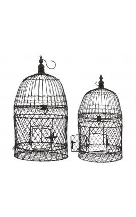 Ensemble de deux cages rondes en fer forgé