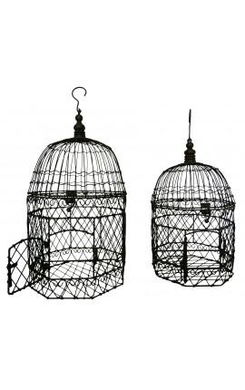 Ensemble de deux cages hexagonales en fer forgé