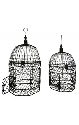 Set of two hexagonal wrought iron cages