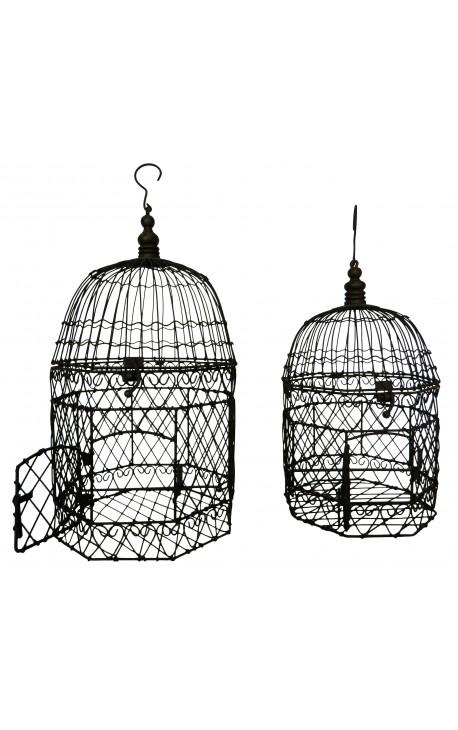 Ensemble de deux cages octogonales en fer forgé