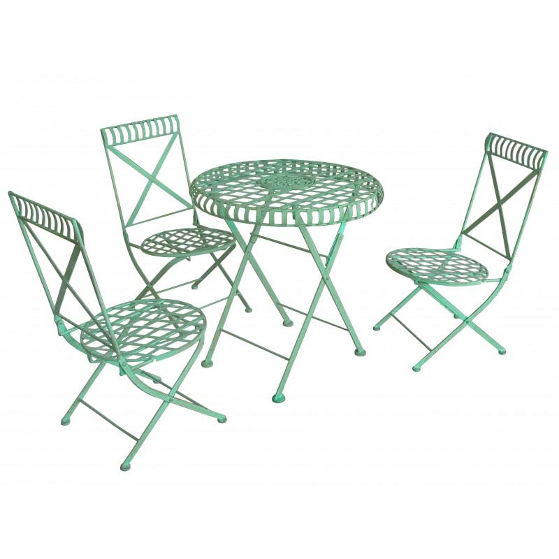 chaise pour enfant bleu pliante et en fer forg. Black Bedroom Furniture Sets. Home Design Ideas