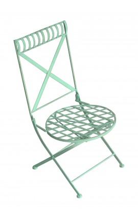Chaise pour enfant, bleu, pliante et en fer forgé