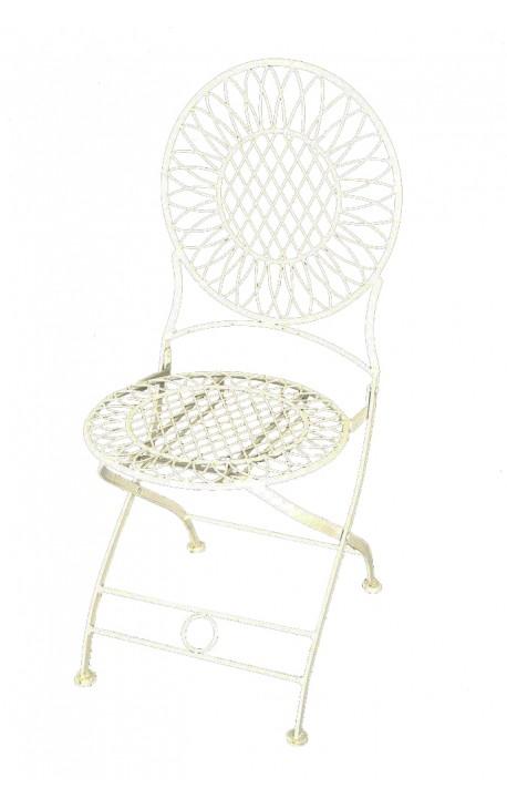 """Chaise en fer forgé beige. Collection """"Parasol"""""""