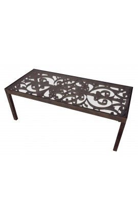 Coffee table with wrought iron scrollwork