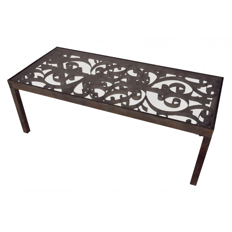 Table basse en fer forg avec volutes - Table basse fer forge ...