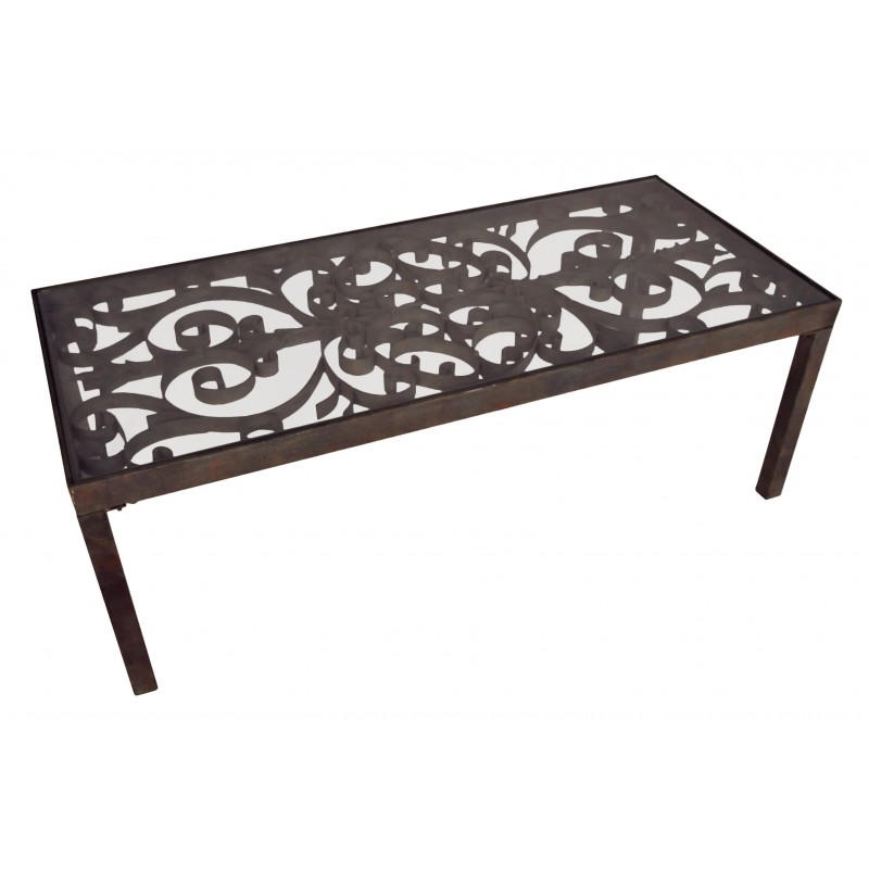 Table basse en fer forg avec volutes - Table basse en verre et fer forge ...