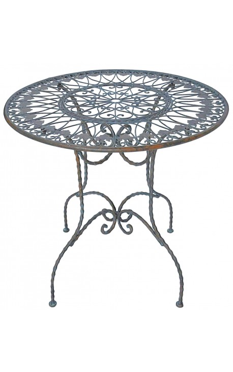 "Pedestal table in wrought iron. Collection ""Verdigris"""