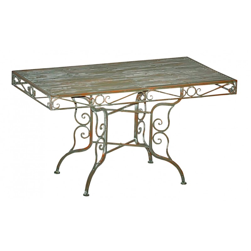 Table basse en fer forg collection vert de gris - Table basse fer forge ...