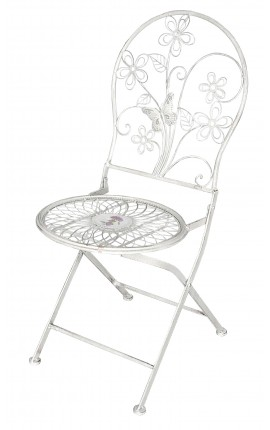 "Folding chair in wrought iron. Collection ""Floral Medallion"""