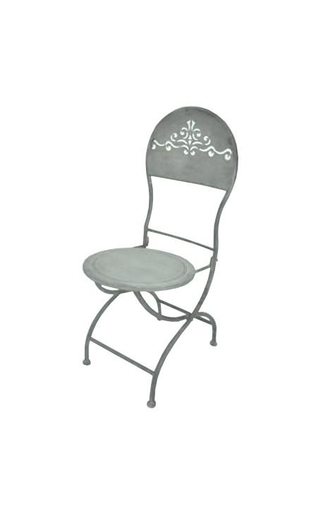 chaise pliante en fer forg dossier ajour collection zinc. Black Bedroom Furniture Sets. Home Design Ideas