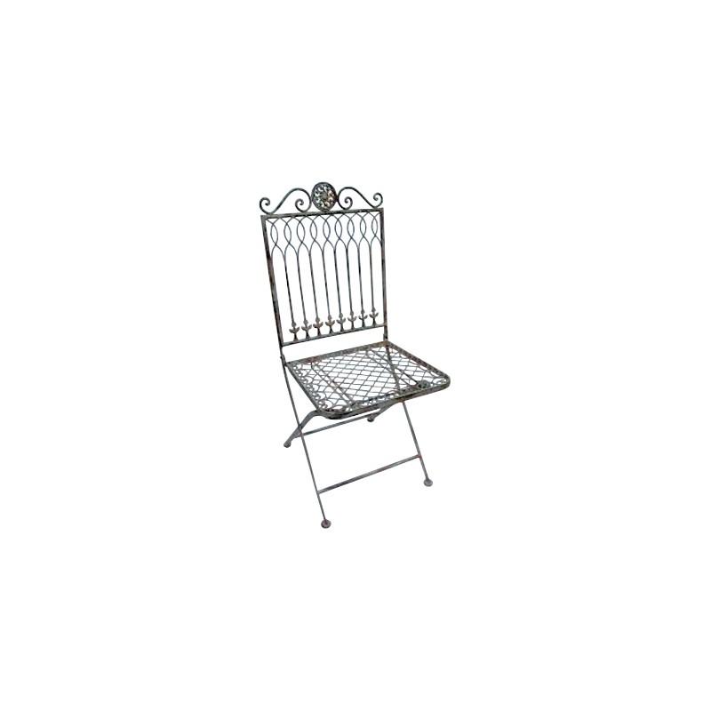 chaise pliante en fer forg collection r camier. Black Bedroom Furniture Sets. Home Design Ideas