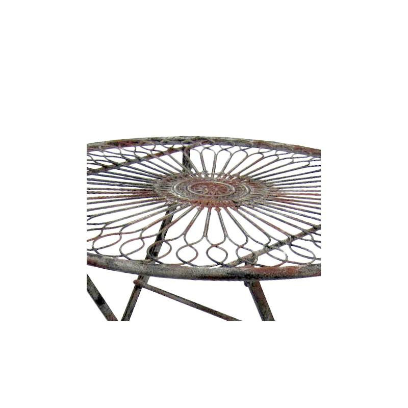 Table pliante en fer forg collection r camier for Table exterieur pliante fer